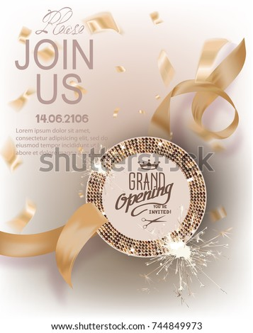 Grand opening gold invitation card curly stock vector 744849973 grand opening gold invitation card with curly ribbons round frame with pattern and confetti stopboris Gallery