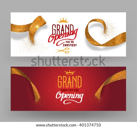 Grand Opening horisontal banners with abstract gold cut ribbons - stock vector