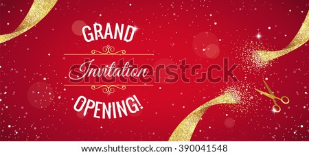 Grand opening horizontal banner. Text with  confetti, golden splashes  and ribbons.Gold sparkles.  Elegant style. Vector Illustration - stock vector