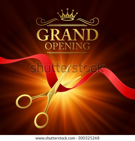 Grand opening illustration with red ribbon and gold scissors EPS 10 - stock vector