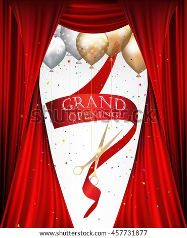 GRAND OPENING INVITATION BANNER WITH THEATER CURTAINS , CONFETTI, SCISSORS  AND RED RIBBON. VECTOR