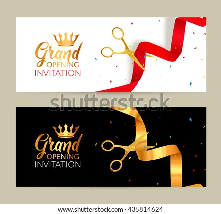 Ribbon cutting stock images royalty free images vectors grand opening invitation banners ribbon cut ceremony event grand opening celebration card stopboris Gallery