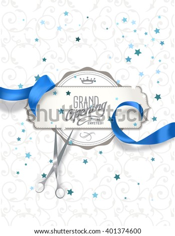Grand opening invitation card with blue silk ribbon and scissors - stock vector