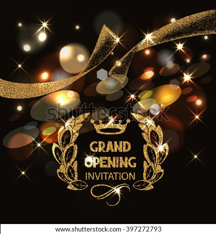 Grand opening invitation card gold abstract stock vector 2018 grand opening invitation card with gold abstract sparkling ribbon and bokeh background stopboris Gallery