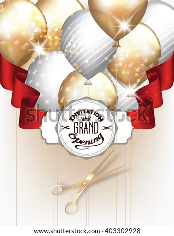 Grand opening invitation card with gold and silver balloons with red  ribbon and scissors - stock vector