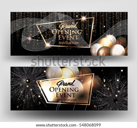 Grand opening invitation cards air balloons stock vector 548068099 grand opening invitation cards with air balloons and gold serpentine and fireworks vector illustration stopboris Image collections