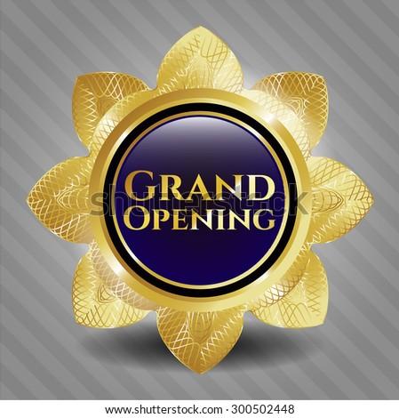 Grand Opening shiny badge - stock vector