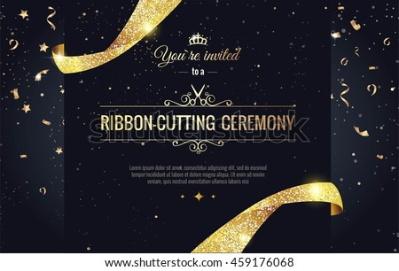Grand opening sparkling banner. Text composition with  golden splashes  and ribbons.Gold sparkles.  Elegant style. Vector Illustration - stock vector