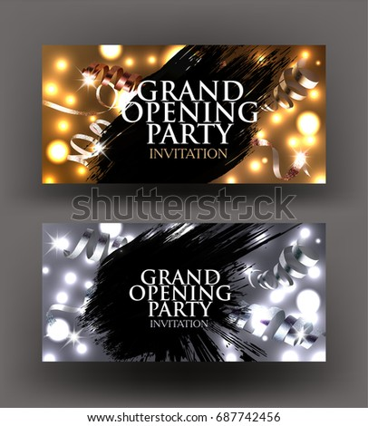Grand opening sparkling gold silver invitation stock photo photo grand opening sparkling gold and silver invitation cards with curly ribbons and black spots vector stopboris Gallery