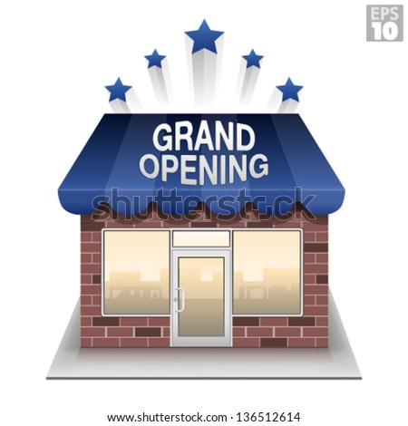 Grand opening storefront brick and mortar business - stock vector