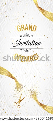 Grand opening vertical banner. Text with  confetti, golden splashes  and ribbons.Gold sparkles.  Elegant style. Vector Illustration - stock vector