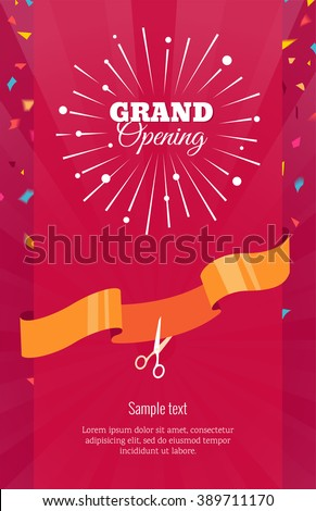 Grand opening vertical banner text firework stock vector 389711170 grand opening vertical banner text with firework confetti and ribbon flat style m4hsunfo