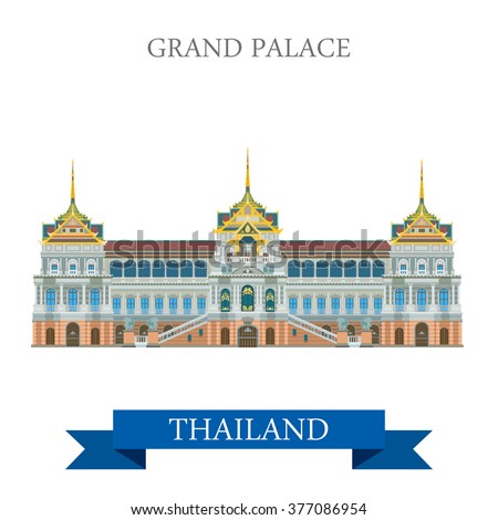 Grand Palace in Bangkok Thailand. Flat cartoon style historic sight showplace attraction web site vector illustration. World countries cities vacation travel sightseeing Asia collection. - stock vector