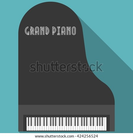 Grand piano vector, flat design