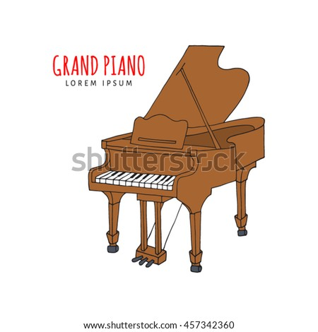 Grand piano vector illustration hand drawn doodle isolated.  Musical instrument sketch. Music icon.