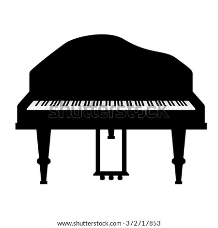 Grand Piano Vector Illustration Isolated On White Background