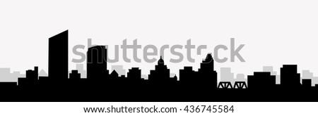 Grand Rapids Morning Skyline - vector - stock vector