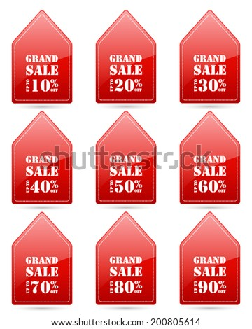 grand sale up to 10,20,30,40,50,60,70,80,90 percent on triangle red label set (vector)