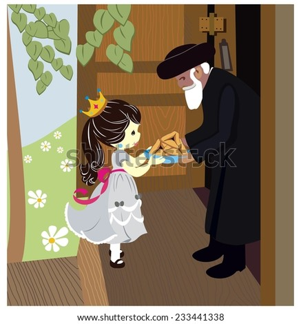 Granddaughter holding Mishloach Manot for grandfather.  Mishloach Manot is traditional food gifts given during Purim.  - stock vector
