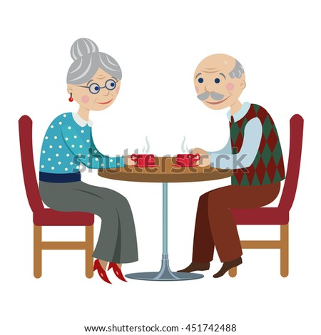 Grandfather and grandmother drink tea.Cartoon elderly couple drinking tea at the table