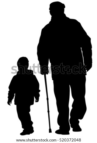 Grandfather and grandson on white background