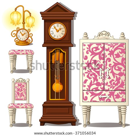 Grandfather clock and vintage furniture. Vector. - stock vector