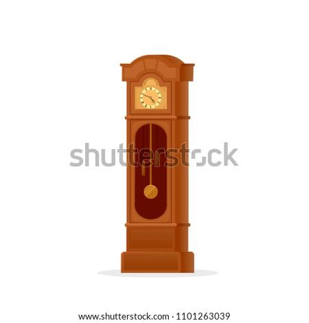 grandfather clock icon clipart image isolated stock vector rh shutterstock com grandfather clock clip art free grandfather clock face clipart