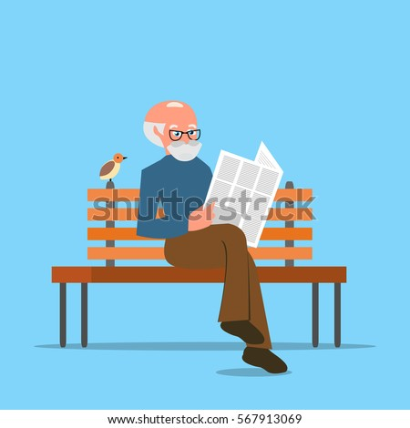 Grandfather Sitting On Bench Reading Newspaper Stock ...