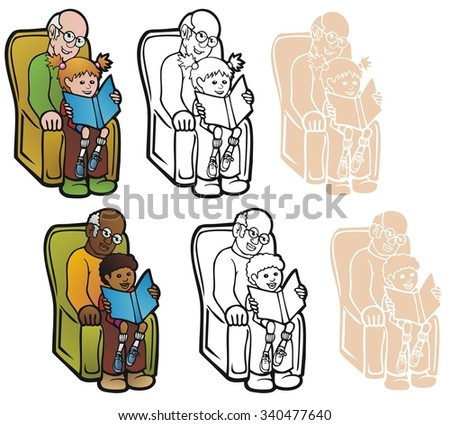 Grandfather with grandkid, reading a book. Two variations, in full color, black outline, and reverse for printing on dark backgrounds. - stock vector