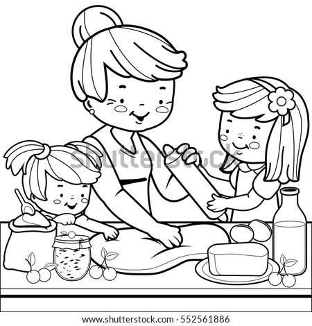 Grandmother Children Cooking Kitchen Coloring Book Stock Vector HD ...