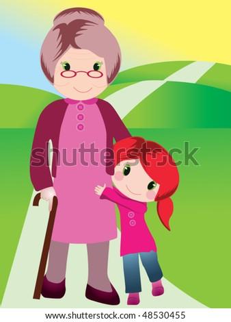 grandmother and grandchild vector - stock vector