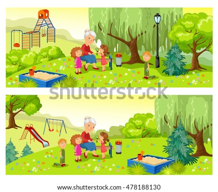 Grandmother and grandchildren spend time relaxing in nature. Rest in the park.