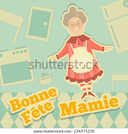 Grandmother Day France. Greeting Card with Grandma in Cartoon Design. Vector Illustration. - stock vector