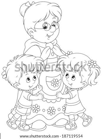 Grandmother hugging her little grandson and granddaughter - stock vector