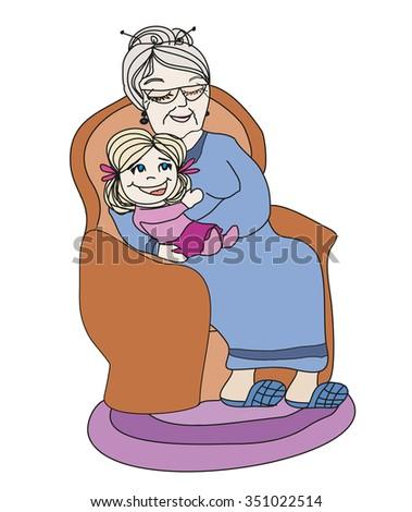 grandmother hugs her granddaughter - hand drawn illustration - stock vector