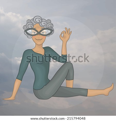 grandmother. marichiasana_3. Yoga. sky. - stock vector