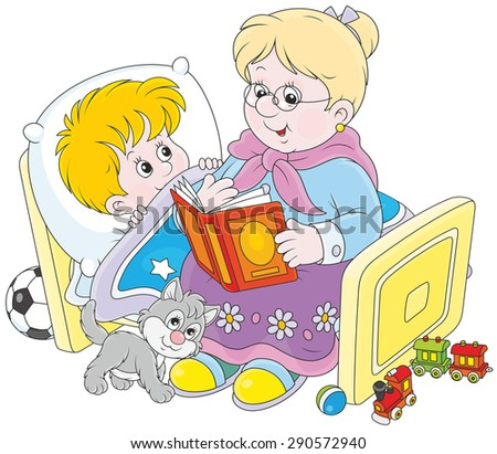 Grandmother reading aloud a book of fairy tales to her grandchild lying in his bed - stock vector