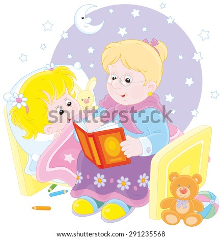 Grandmother reading aloud a book of fairy tales to her granddaughter lying in her bed - stock vector