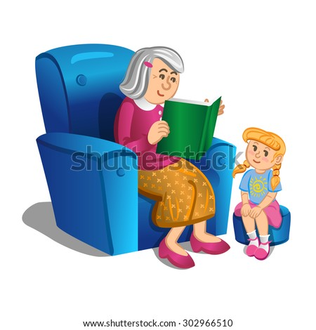 Grandmother reads a book to the girl. Vector illustration - stock vector