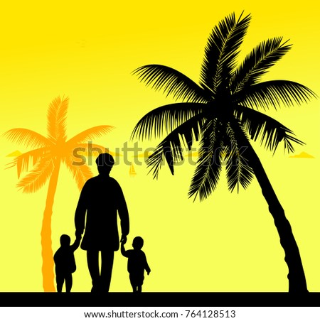 Grandmother walking with grandchildren on the beach, one in the series of similar images silhouette