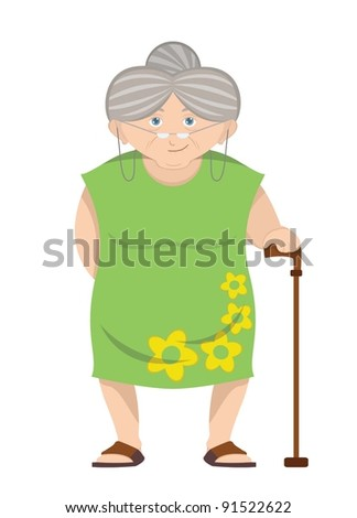 Grandmother wearing green dress and stick