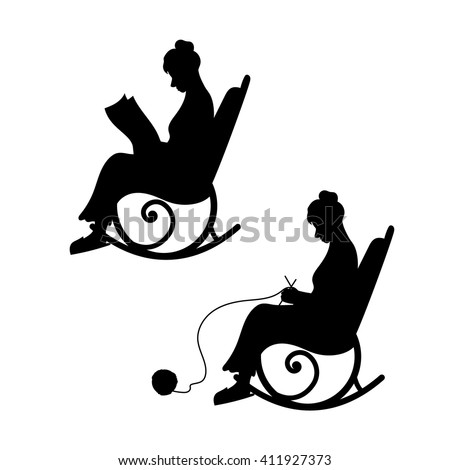 rocking chair silhouette. Grandmother With Ball Of Yarn Knits In A Chair. Grandma Reads The Newspaper. Rocking Chair Silhouette