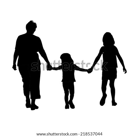 Grandmother with grandchildren walking in park vector silhouette illustration.On the way to school. - stock vector