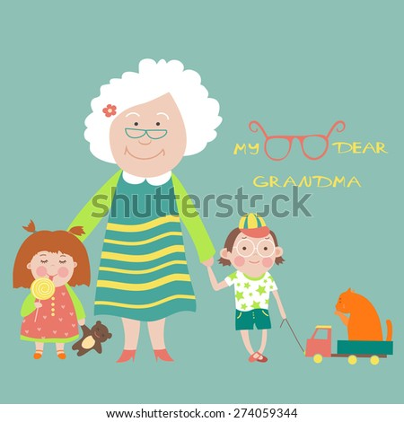Grandmother with grandson and granddaughter. Vector Illustration - stock vector