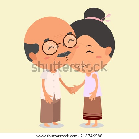 Grandpa kissing Grandma. Elderly couple in love - stock vector