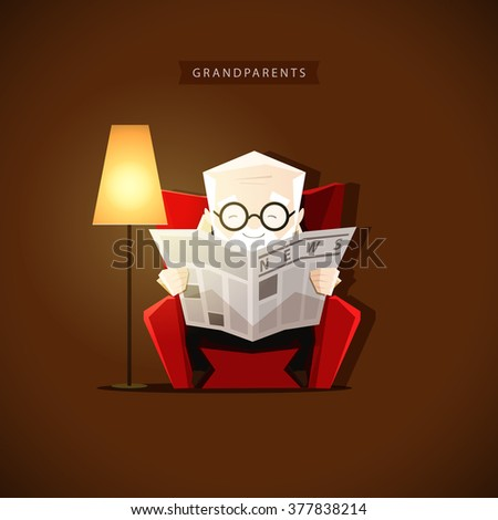 Grandpa sits in his chair near the floor lamp and reading a newspaper - stock vector