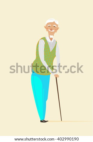 Grandpa vector illustration on yellow background. Cute cartoon old character. Comic old man sketch drawing. Flat style funny grandpa person. Elegant man. Stock vector.