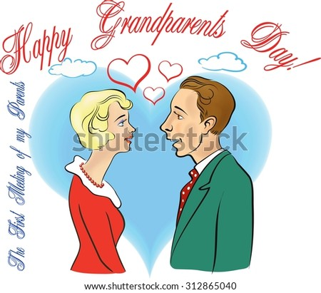 Grandparents Day. First meeting of young man and woman. Retro style. Hand drawn artwork.Vector illustration. - stock vector
