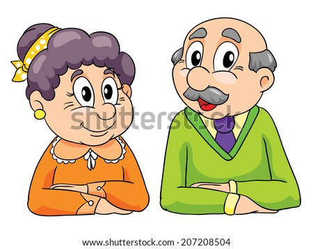 grandparents sitting at the table, vector illustration on white background - stock vector