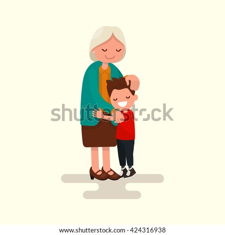 Grandson hugging his grandmother. Vector illustration of a flat design - stock vector